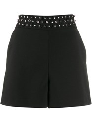 Red Valentino Floral Studded Short Shorts Black