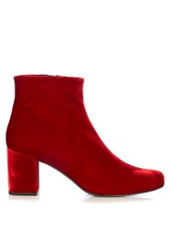 Saint Laurent Babies Block Heel Velvet Ankle Boots Red