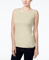 Karen Scott Petite Boat Neck Tank Top Only At Macy's Pebble