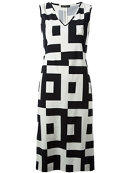 Laura Urbinati Geometric Print Dress Blue