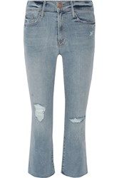 Mother The Insider Crop Distressed High Rise Flared Jeans Blue