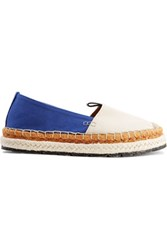 Acne Studios Bibiana Leather Trimmed Embroidered Canvas Espardrilles Bright Blue