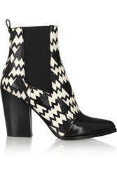 Kenzo Printed Elaphe And Leather Ankle Boots Black