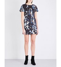 French Connection Abstract Print Stretch Cotton Dress Black Multi
