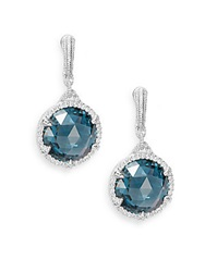 Judith Ripka Eclipse London Blue Spinel White Sapphire And Sterling Silver Earrings Silver Blue