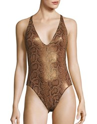 Polo Ralph Lauren Python Print Crisscross Swimsuit Brown