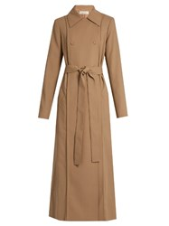 Nina Ricci Tie Waist Wool Gabardine Trench Coat Light Beige
