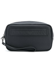 Emporio Armani Logo Embossed Pouch Bag Black