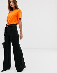 Mango Wide Leg Dring Belt Trousers In Black