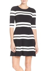 Women's Eliza J Stripe Sweater Fit And Flare Dress