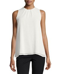 Catherine Malandrino Sleeveless Trapeze Blouse White