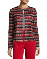 Ming Wang 23 L Striped Knit Jacket Multi