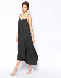 Asos Cami Swing Dress With Asymmetric Hem Black