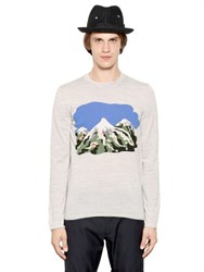Comme Des Garcons Shirt Cutout Mountain Intarsia Wool Sweater