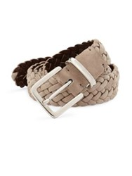 Brunello Cucinelli Braided Suede Belt Mushroom