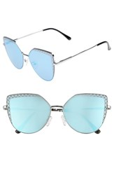 Leith 60Mm Textured Lens Cat Eye Sunglasses Silver Blue Silver Blue