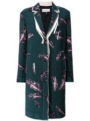 Emilio Pucci Feather Print Coat Green