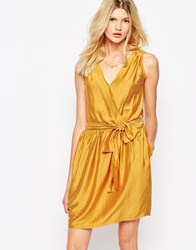 Sessun Wrap Mini Dress In Mustard Fox Yellow