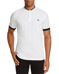 Fred Perry Baseball Collar Pique Regular Fit Polo Shirt White