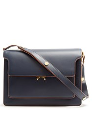 Marni Trunk Large Leather Shoulder Bag Navy