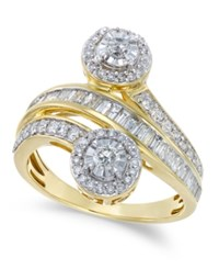 Macy's Diamond Channel Set Bypass Ring 1 Ct. T.W. In 14K White Or Yellow Gold