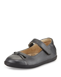 Old Soles Leather Cap Toe Ballet Flat Metallic Black Youth