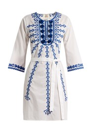 Figue Sophie Embroidered Cotton Voile Dress White Multi