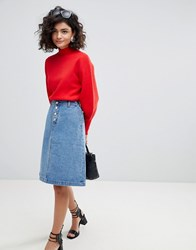Selected A Line Denim Skirt Blue