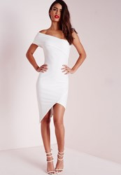 Missguided Crepe One Shoulder Asymmetric Bodycon Dress White