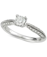 Marchesa Diamond Milgrain Engagement Ring 7 8 Ct. T.W. In 18K White Gold Created For Macy's