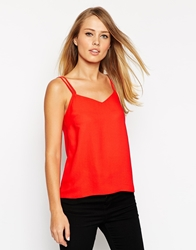 Asos Woven Cami Top With Double Straps Red