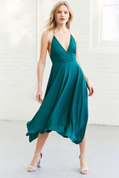 Kimchi And Blue Vida Satin Handkerchief Midi Dress Green