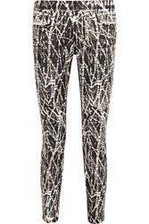 Proenza Schouler Printed Mid Rise Skinny Jeans Black