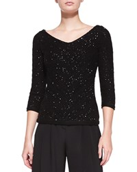 Carolina Herrera V Neck Sequined Chevron Sweater Black