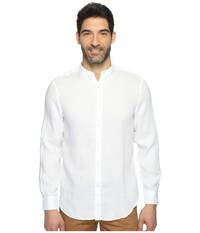 Perry Ellis Long Sleeve Solid Banded Collar Linen Shirt Bright White Men's Clothing