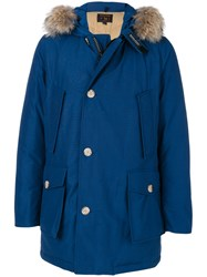 Woolrich Hooded Coat Cotton Feather Down Polyamide Coyote Fur S Blue