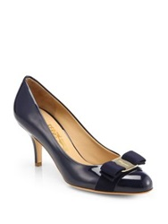 Salvatore Ferragamo Carla Patent Leather Bow Pumps Oxford Blue Nero Black New Bisque