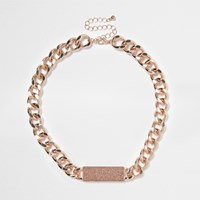 River Island Womens Rose Gold Tone Chain Link Glitter Necklace