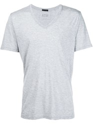 Atm Anthony Thomas Melillo Lightweight V Neck Jersey T Shirt Grey