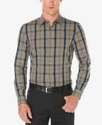 Perry Ellis Men's Stretch Heathered Plaid Shirt Dull Gold