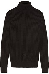 Michael Kors Collection Chunky Knit Turtleneck Sweater Black