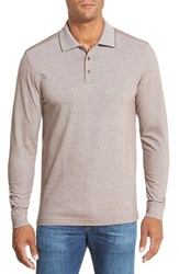 Men's Big And Tall Nordstrom Long Sleeve Pique Polo Brown Earth