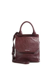 Mcq By Alexander Mcqueen Mini Ruin Pebbled Leather Crossbody Bag Black Oxblood