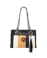 Valentino By Mario Valentino Kali Striped Leather Chain Strap Tote Bag Black Almond