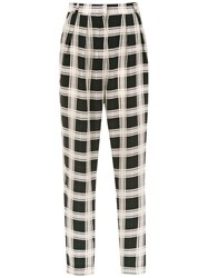 Andrea Marques Silk Checked Trousers Black