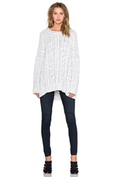 1. State Long Sleeve Cable Poncho Sweater White