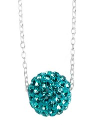 Lord And Taylor Sterling Silver Floating Crystal Ball Pendant Necklace Blue