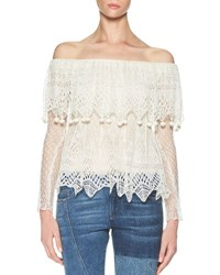 Alexander Mcqueen Fisherman Lace Off The Shoulder Top Ivory