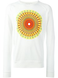 Ymc Abstract Print Long Sleeved Sweatshirt White