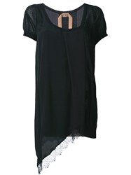 N 21 No21 Asymmetric Lace Hem T Shirt Black